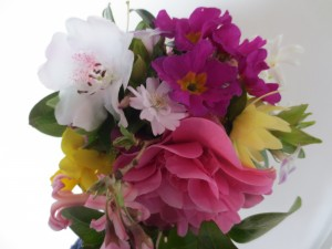 Narcissi, Vinca, Rhododendron, Camellia, Hellebore, Hyacinth, Polyanthus and Cherry Blossom